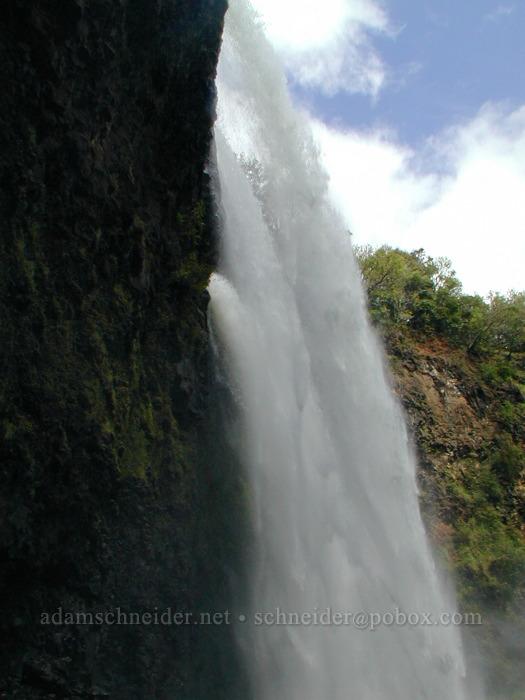 Wailua Falls from the side of the pool [Wailua Falls, Wailua River State Park, Kaua'i, Hawaii]