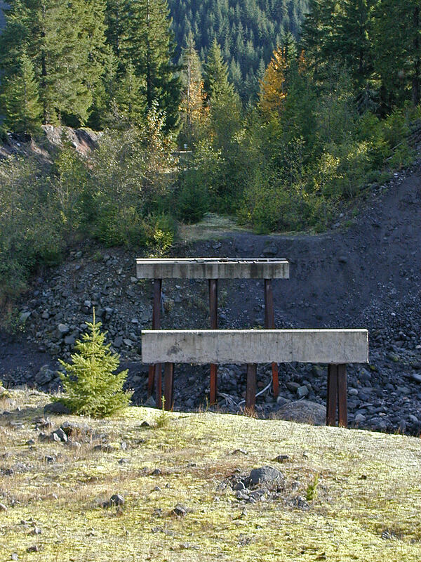 Former bridge over the Muddy River [Southern Smith Creek trailhead, Mt. St. Helens N.V.M., Washington]