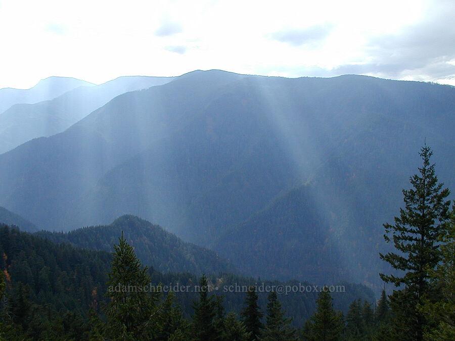 sunbeams in the Eagle Creek Valley [Ruckel Ridge Trail, Columbia River Gorge, Oregon]