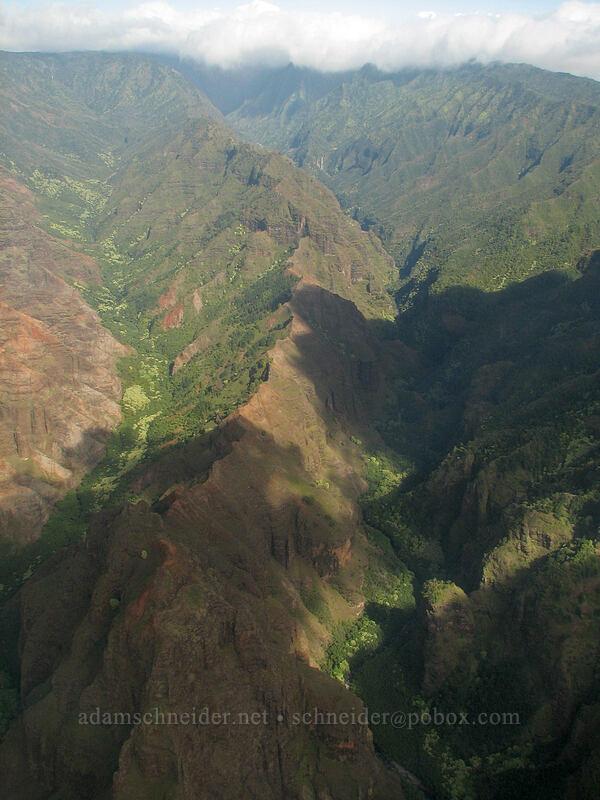 Kahana Valley & Olokele Canyon [airplane tour, Kaua'i, Hawaii]