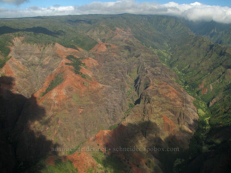 Mokuone Valley & Kahana Valley [airplane tour, Kaua'i, Hawaii]