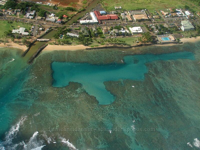 Mo'ikeha Canal & coral reefs [airplane tour, Kaua'i, Hawaii]