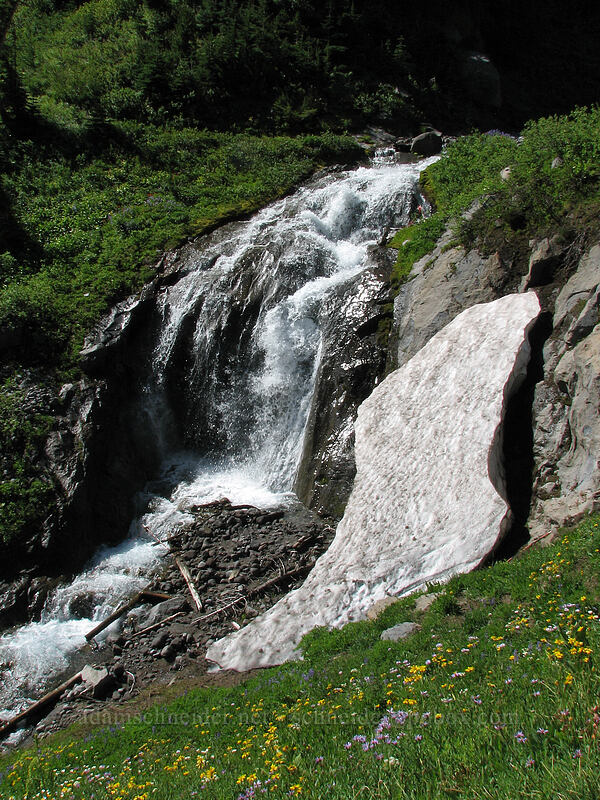 waterfall and snow on Clark Creek [Timberline Trail, Mt. Hood National Forest, Oregon, United States]