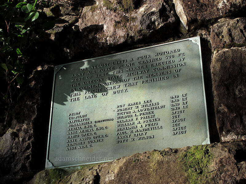 B-17 Bomber memorial plaque [Cape Lookout State Park, Tillamook County, Oregon]