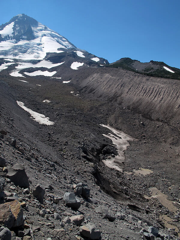 Mount Hood & Eliot Glacier [Eliot Glacier moraine, Mt. Hood Wilderness, Oregon]