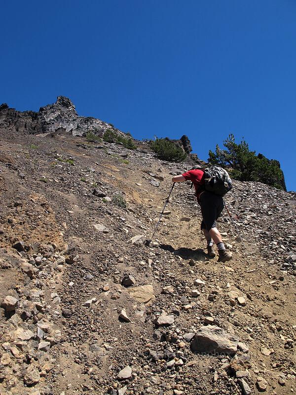 climbing the sketchy trail [Mt. Thielsen Trail, Mt. Thielsen Wilderness, Oregon]