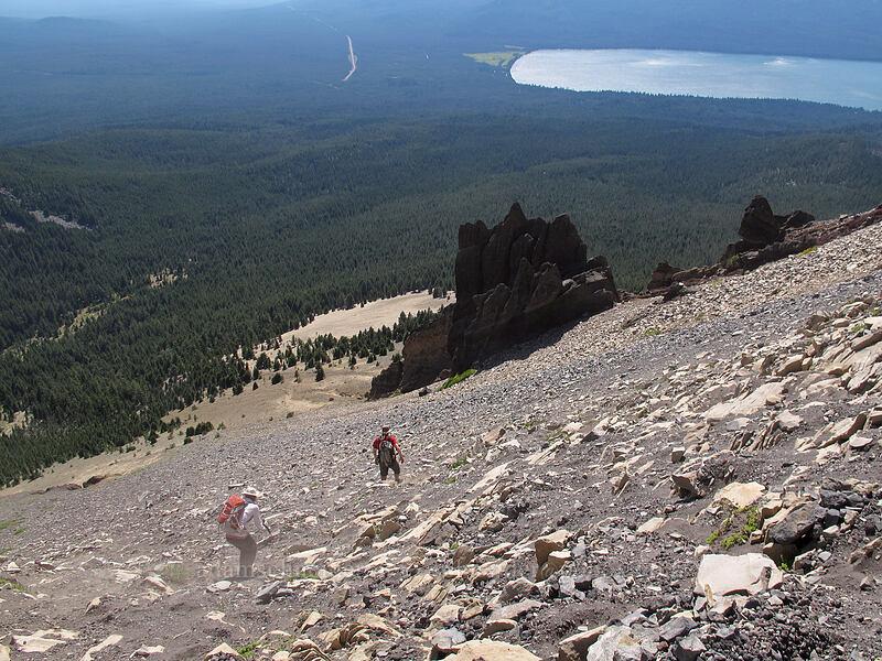 descending a scree field [Mt. Thielsen's southwest face, Mt. Thielsen Wilderness, Oregon]