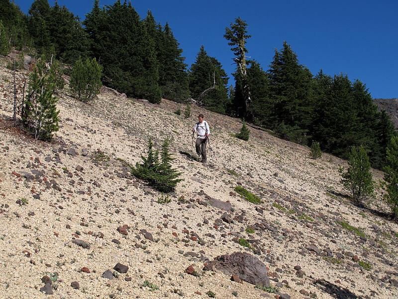 traversing the pumice slope [Mt. Thielsen's southwest face, Mt. Thielsen Wilderness, Oregon]