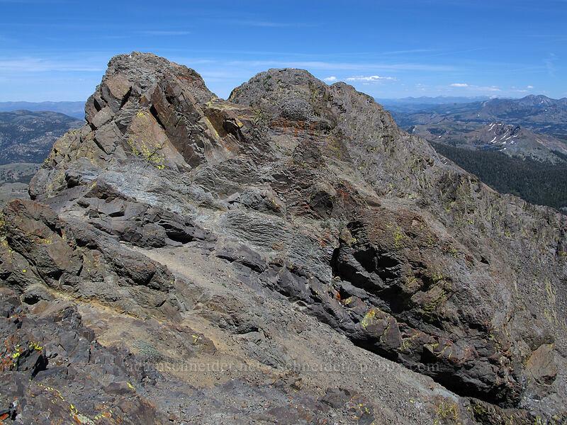 Round Top's eastern summit blocks [Round Top summit, Mokelumne Wilderness, California]