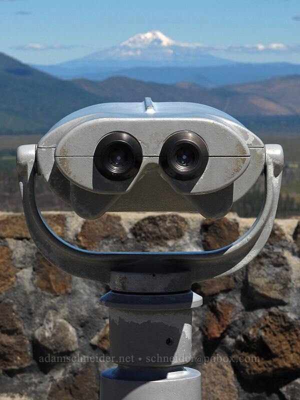 binoculars trained on Mt. Shasta [Hat Creek Rim Overlook, Lassen National Forest, California]