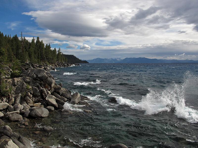 high waves on Lake Tahoe [Chimney Beach Trail, Lake Tahoe Basin, Nevada]