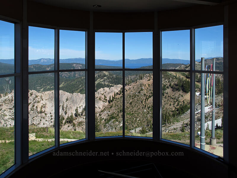 Squaw Valley & Lake Tahoe through windows [High Camp, Squaw Valley, California]