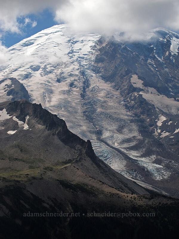 Mt. Rainier & Third Burroughs Mountain closeup [Skyscraper Mountain, Mount Rainier National Park, Washington]