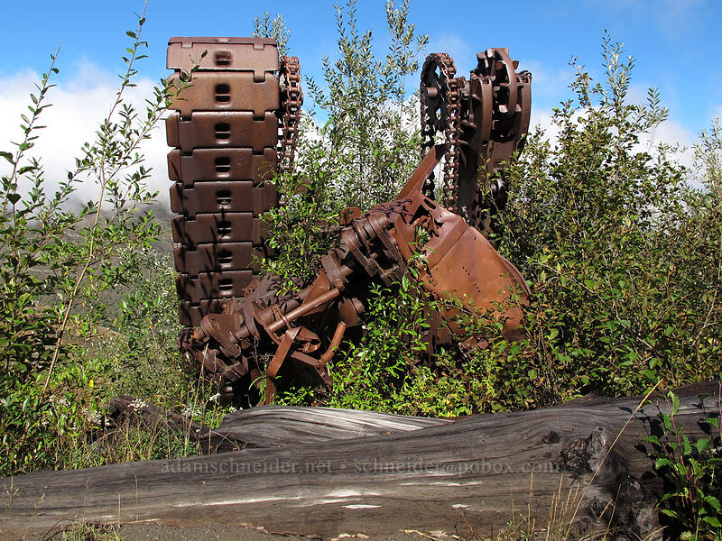 wrecked bulldozer [South Coldwater Trail, Mt. St. Helens National Volcanic Monument, Washington]