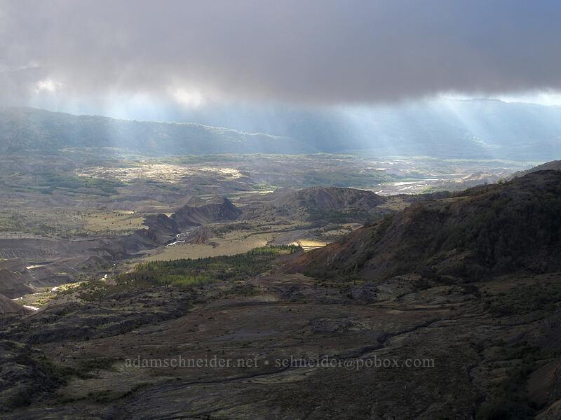 pumice plain & sunbeams [Boundary Trail, Mt. St. Helens National Volcanic Monument, Washington]
