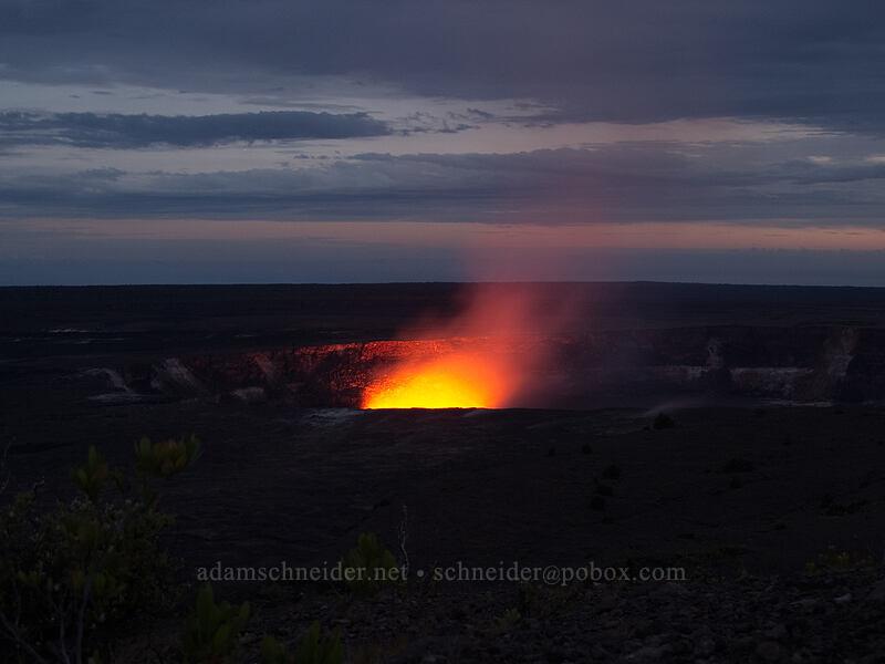 glow from lava in Halema'uma'u Crater [Jaggar Museum, Hawaii Volcanoes National Park, Big Island, Hawaii]