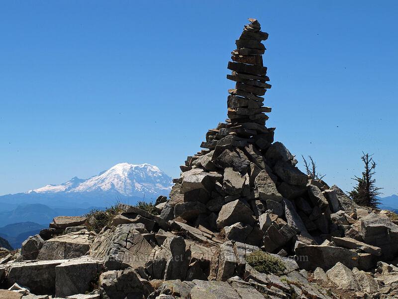 summit cairn & Mt. Rainier [Alta Mountain summit, Alpine Lakes Wilderness, Washington]