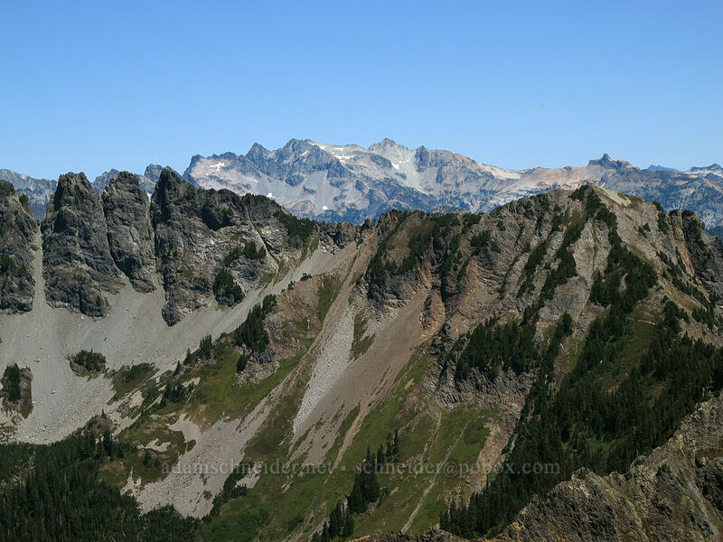 view northeast toward Mt. Daniel [Alta Mountain summit, Alpine Lakes Wilderness, Washington]