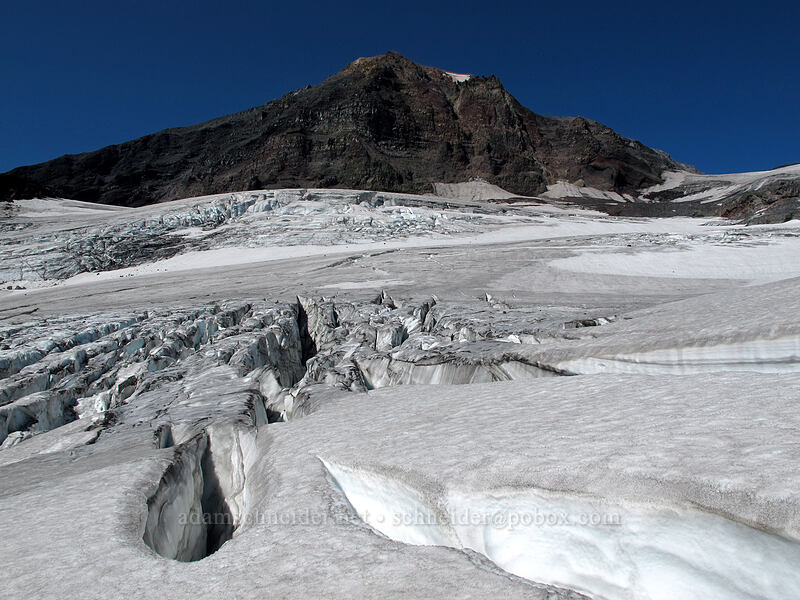 Middle Sister & crevasses [Hayden Glacier, Three Sisters Wilderness, Oregon]