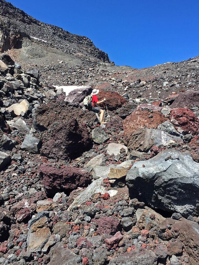 Adam & volcanic rubble [north of Hayden Glacier, Three Sisters Wilderness, Oregon]