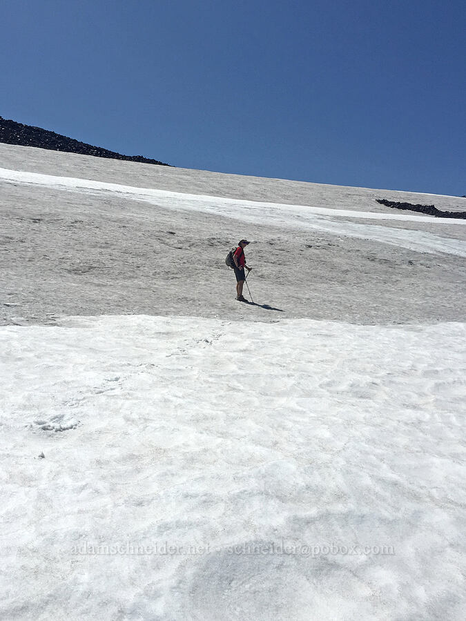 Adam on another snowfield [north of Middle Sister, Three Sisters Wilderness, Oregon]