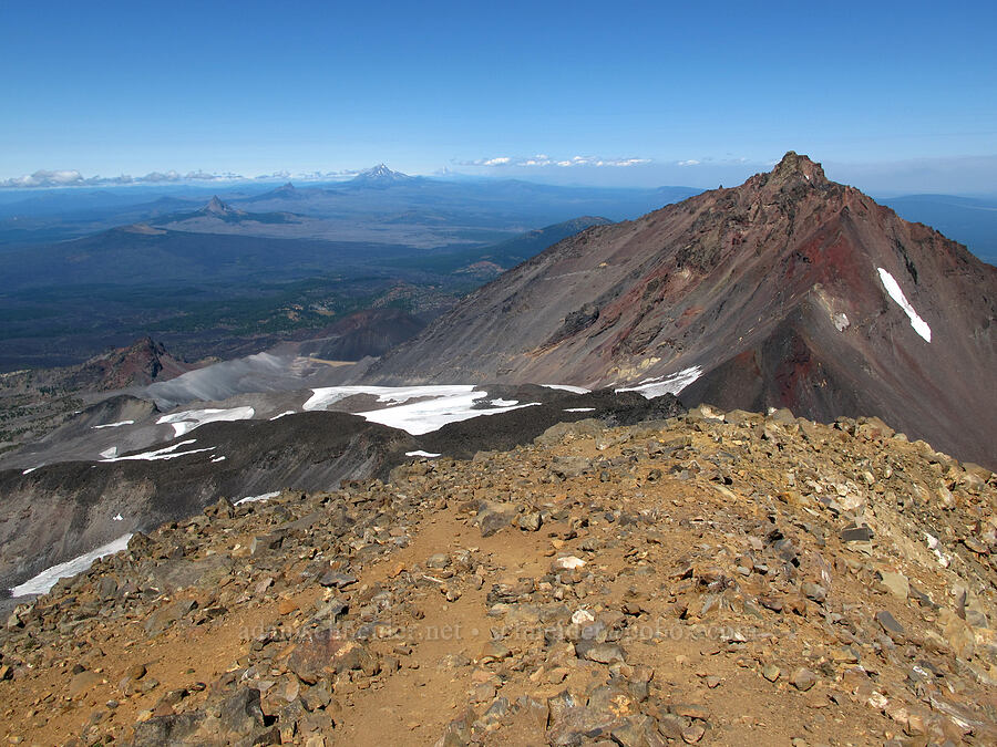 the summit, North Sister, & distant volcanoes [Middle Sister summit, Three Sisters Wilderness, Oregon]