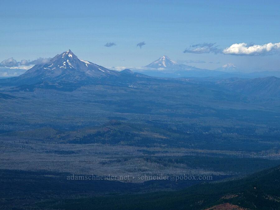 Mt. Jefferson, Mt. Hood, & Mt. Adams [Middle Sister summit, Three Sisters Wilderness, Oregon]