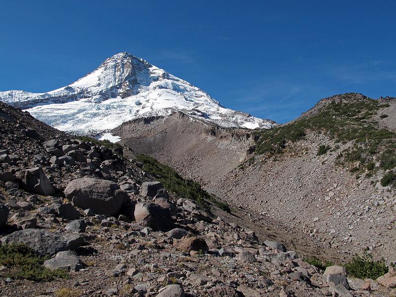 Mount Hood & Langille Crags [Eliot Glacier moraine, Mt. Hood Wilderness, Oregon]