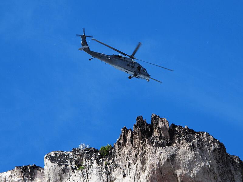 helicopter [Eliot Glacier moraine, Mt. Hood Wilderness, Oregon]