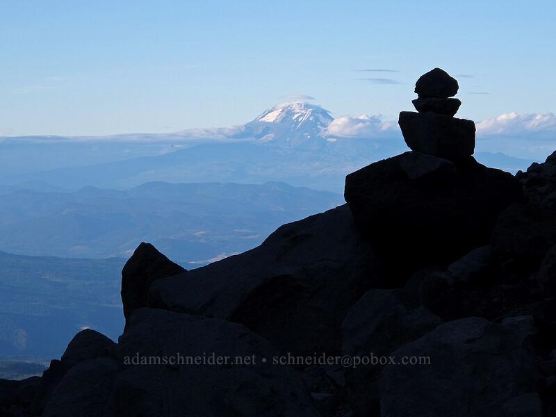 Mount Adams & a cairn [Timberline Trail, Mt. Hood Wilderness, Oregon]