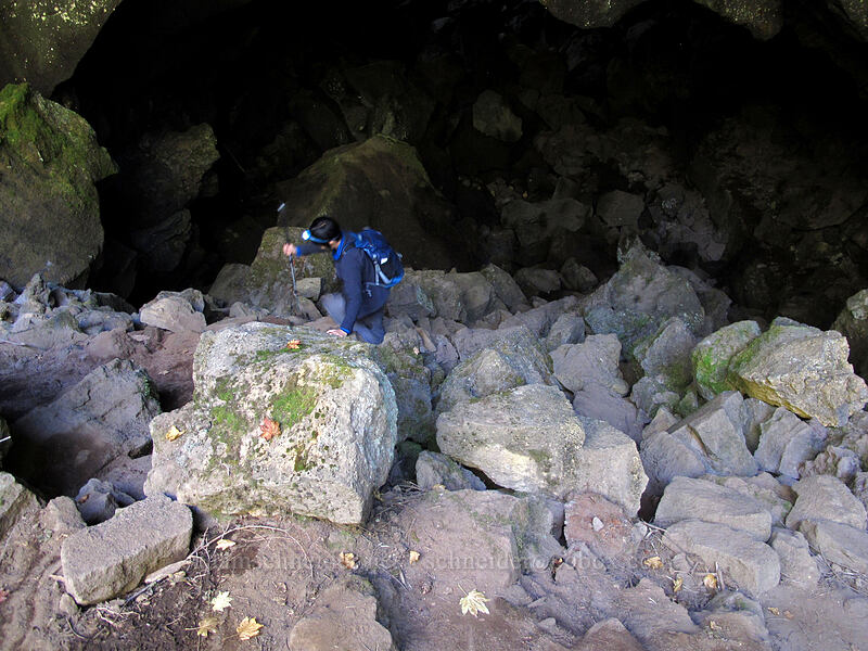 ascending into pit #3 [Falls Creek Cave, Gifford Pinchot National Forest, Washington]