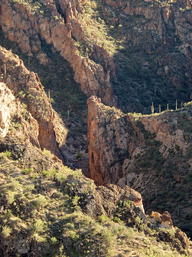 Lower La Barge Canyon, from above [Boulder Canyon Trail, Superstition Wilderness, Arizona]