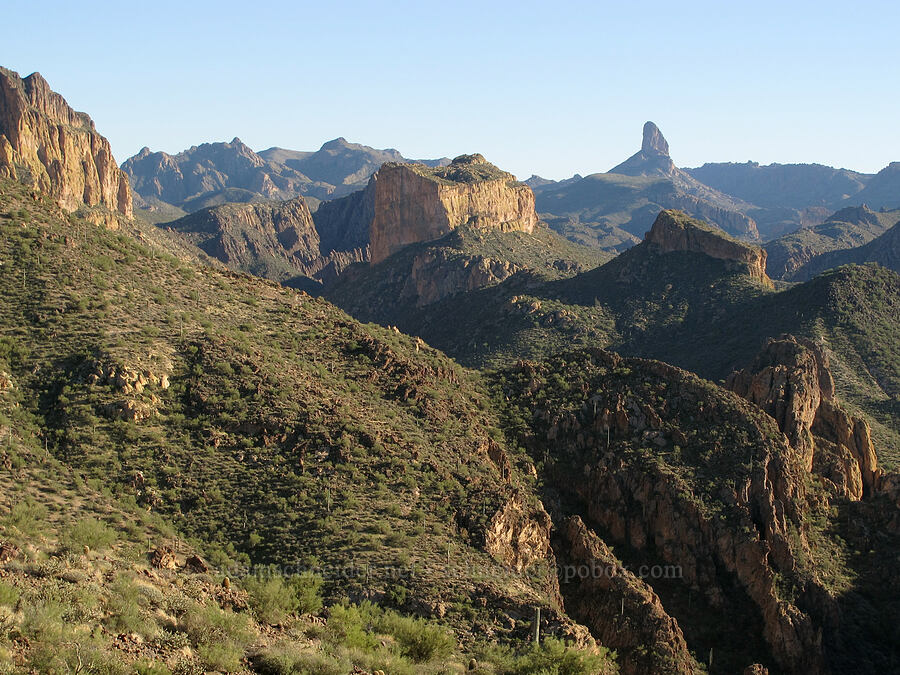 Geronimo Head, Battleship Mountain, & Weaver's Needle [Boulder Canyon Trail, Superstition Wilderness, Arizona]