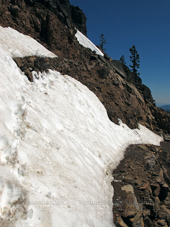 steep snow on the trail [Garfield Peak Trail, Crater Lake National Park, Oregon]
