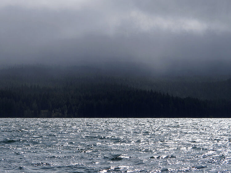 rain and snow across Odell Lake [Highway 58, Deschutes National Forest, Oregon]