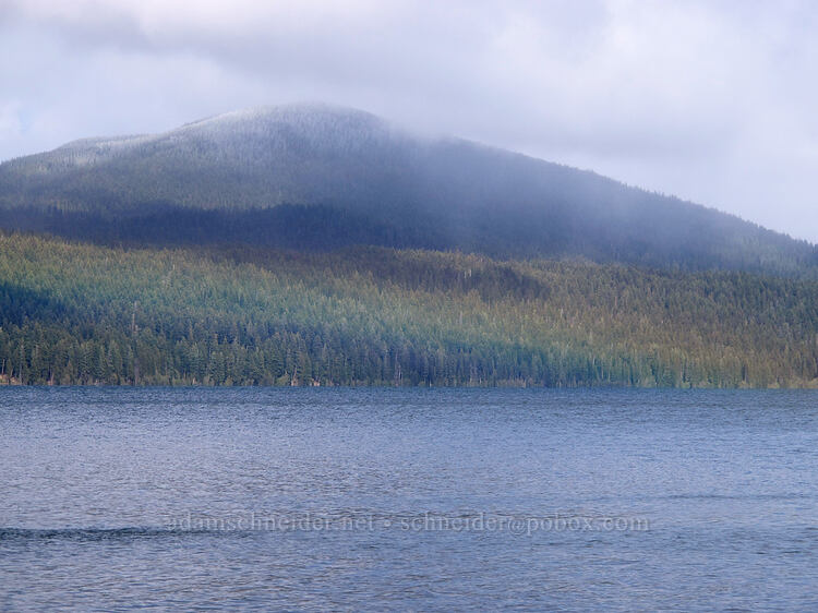 low rainbow over Odell Lake & fresh snow on Maklaks Mountain [Shelter Cove, Deschutes National Forest, Oregon]
