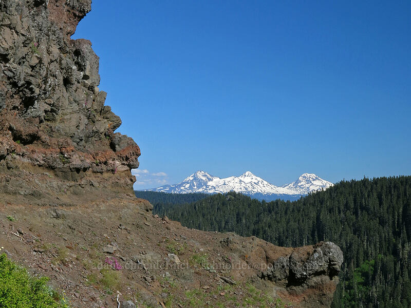 Three Sisters & cliffs [Iron Mountain Trail, Willamette National Forest, Oregon]