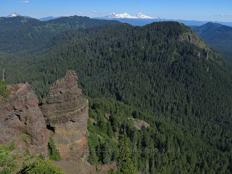 lava pinnacles, Three Sisters, & Browder Ridge [Iron Mountain summit, Willamette National Forest, Oregon]