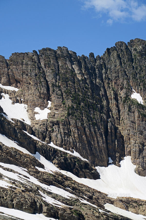 vertical breaks in the rock [Snowshoe Peak-Bockman Peak ridge, Cabinet Mountains Wilderness, Montana]