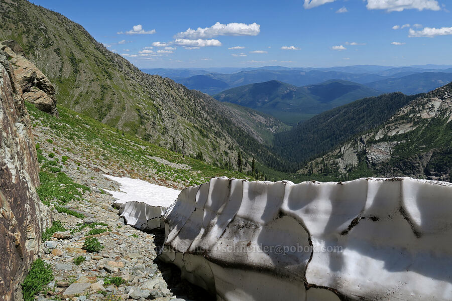 top of a snowfield [above Leigh Lake, Cabinet Mountains Wilderness, Montana]