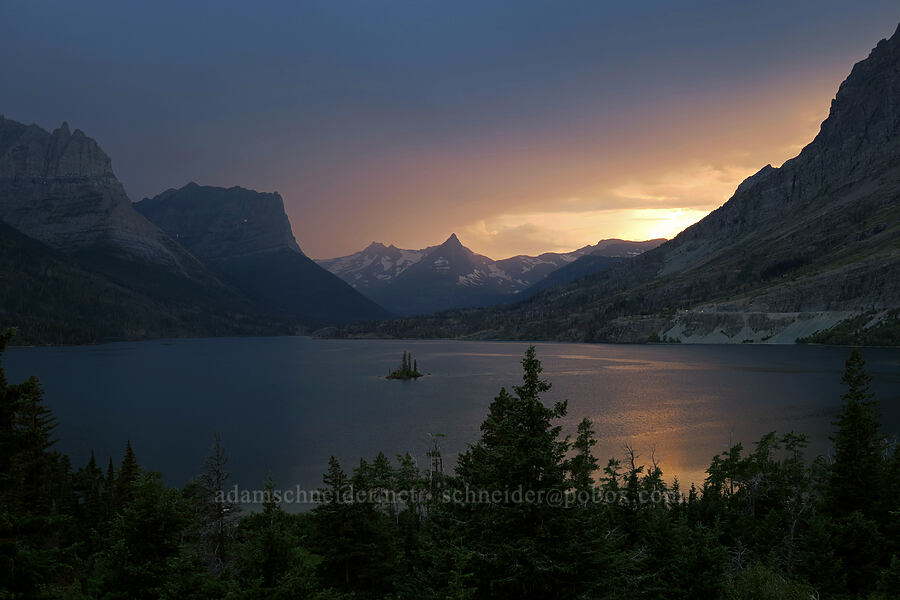 sunset over St. Mary Lake [Wild Goose Island Overlook, Glacier National Park, Montana]