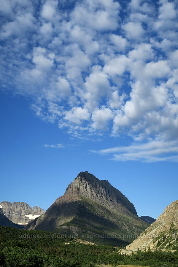 Grinnell Point & clouds [Route 3, Glacier National Park, Montana]