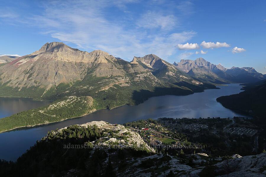 Waterton Townsite, Upper Waterton Lake, & mountains [Bear's Hump Trail, Waterton Lakes National Park, Alberta, Canada]