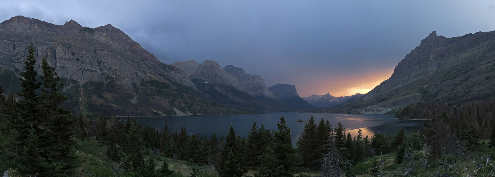 St. Mary Lake sunset panorama [Wild Goose Island Overlook, Glacier National Park, Montana]