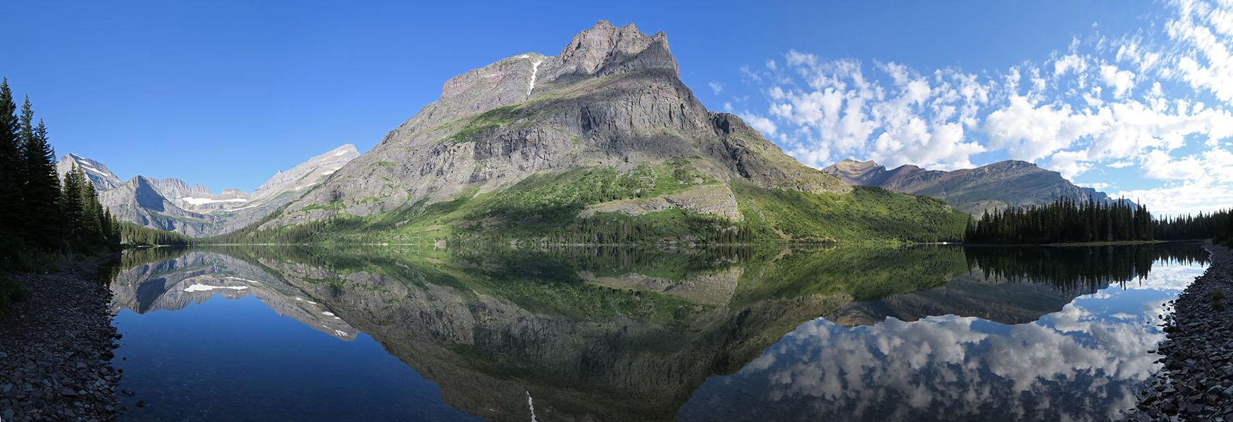 Lake Josephine panorama [South Shore Lake Josephine Trail, Glacier National Park, Montana]