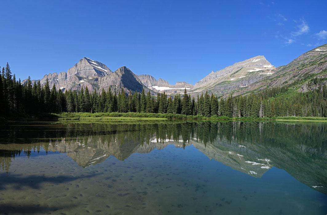 Lake Josephine panorama [Lake Josephine south dock, Glacier National Park, Montana]