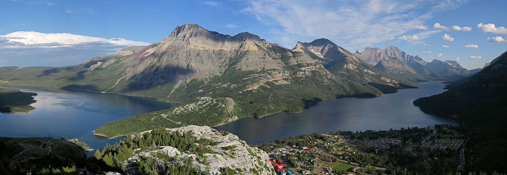 Waterton Lakes panorama [Bear's Hump Trail, Waterton Lakes National Park, Alberta, Canada]