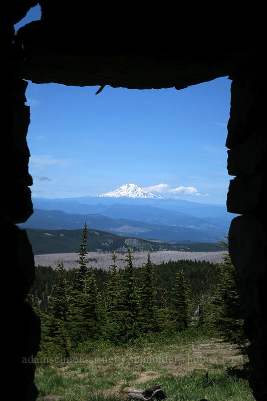 Mount Adams from inside the shelter [McNeil Point, Mt. Hood Wilderness, Oregon]