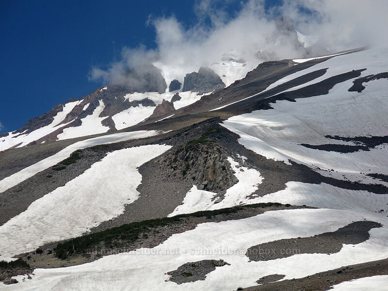 Mt. Shasta & clouds [Clear Creek Trail, Mount Shasta Wilderness, California]