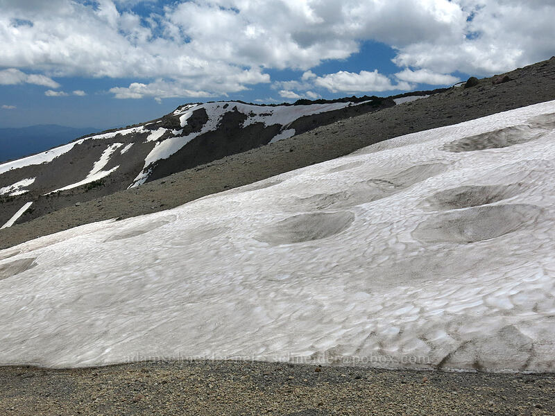 cratered snowfield [east of Mud Creek Canyon, Mount Shasta Wilderness, California]